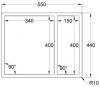 Caressi anderhalve spoelbak RVS CAPP3415R6R0 B34+B15xL40xD18.5cm opbouw onderbouw vlakinbouw 1208920589
