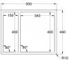 Caressi anderhalve spoelbak RVS CAPP1534R6R0 B34+B15xL40xD18.5cm opbouw onderbouw vlakinbouw 1208920590