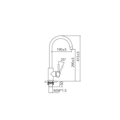 CARESSI Stainless steel eenhendel keukenmengkraan RVS volledig roestvrij staal CA103I ECO 1208920621 kloon 13-02-2019 04:16:22