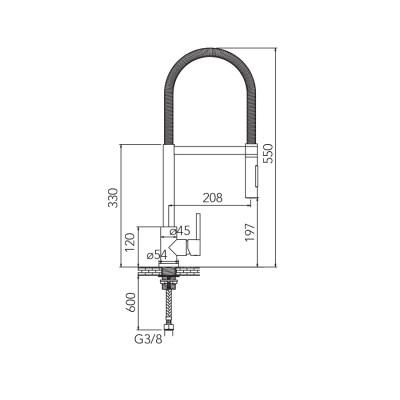 CARESSI Stainless steel eenhendel keukenmengkraan RVS volledig roestvrij staal CA103I ECO 1208920621 kloon 14-02-2019 12:14:06