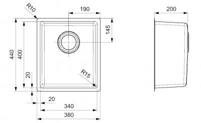 Reginox Houston RVS spoelbak 34x40 onderbouw, opbouw en vlakbouw L2200 R32862