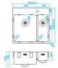 Caressi anderhalve spoelbak RVS met kraangat CAPP3415KR10 B55xL52 opbouw onderbouw vlakinbouw 1208921191