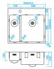 Caressi anderhalve spoelbak RVS met kraangat CAPP1534KR10  B55xL52 opbouw onderbouw vlakinbouw 1208921192