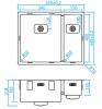 Caressi 1,5 rvs spoelbak CAPP3415Q10 B34+B15xL40xD18.5cm onderbouw opbouw of vlakbouw 1208921359