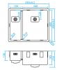 Caressi 1,5 rvs spoelbak CAPP1534Q10 B34+B15xL40xD18.5cm onderbouw opbouw of vlakbouw 1208921363