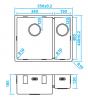 Caressi 1,5 rvs spoelbak CA3415R10 B34+B15xL40xD18.5cm onderbouw opbouw of vlakbouw 1208921375