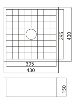 Caressi Cato tegelspoelbak 40cm onderbouw CATO4040 1208921378