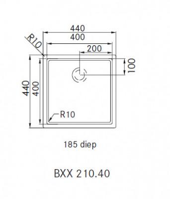 Franke Bolero Plus BXX 210.40 spoelbak vlakinbouw 1270352614 technische tekening
