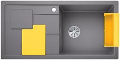Blanco Sity enkele spoelbak met spoeltafel in alumetallic XL 6 S - 525054
