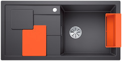 Blanco Sity enkele spoelbak met spoeltafel in rock grey - orange XL 6 S - 525057