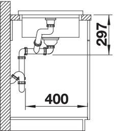 Blanco Modex-M 60 - enkele spoelbak met spoeltafel in muskaat- 523654 (kloon)