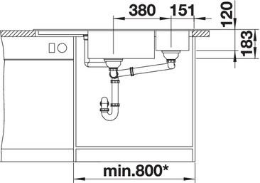 Blanco Delta II - enkele spoelbak met spoeltafel en bijbak in antraciet - 523656