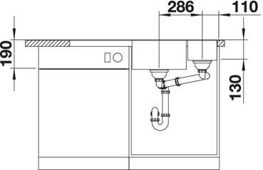 Blanco Axia III 6 S - dubbele spoelbak met spoeltafel in antraciet - 523462