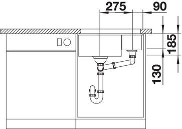 Blanco Subline 350/150-U - 1,5 spoelbak in magnolia glanzend - 523742