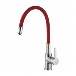 DEMM keukenkraan met draaibare uitloop chroom/rood 1208947024