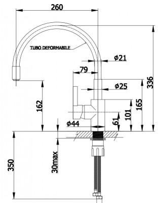 DEMM keukenkraan met draaibare uitloop chroom/zwart 1208947023