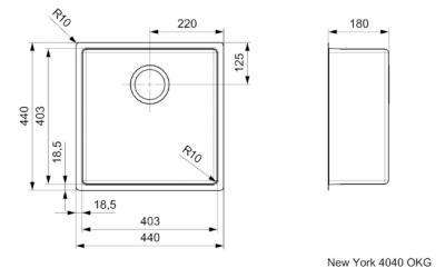 Reginox New York middel RVS spoelbak 40x40 okg plug R28124