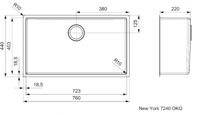 Reginox New York grote RVS spoelbak 72x40 met OKG plug R31377