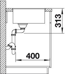 Blanco spoelbak Subline 400-F vlakbouw Rock grey 519797