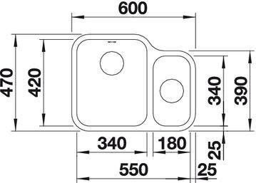 Blanco spoelbak Ypsilon 550-U BR auto onderbouw RVS 518211