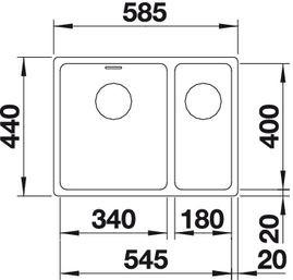 Blanco spoelbak Andano 340/180 Vlakinbouw BR met Trekknop 518320