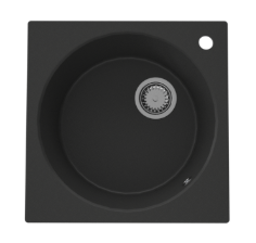 GraniteMy Dortmunt 48 granieten ronde spoelbak met vierkante kader zwart onderbouw 1208947585