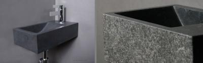 Forzalaqua VENETIA fontein graniet gebrand 40x22x10cm geen kraangat rechts 8011314