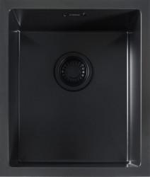ABK Bingara BIN34fBL zwart emaille spoelbak 34 onderbouw met zwarte plug en overloop 1208952444