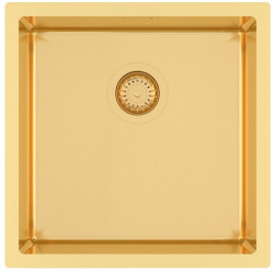 Ausmann Mosel RVS spoelbak goud kleur PVD Gold 40x40 onderbouw vlakbouw en opbouw 1208952976