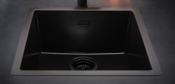 Reginox Texel 50x40 Pure Black zwarte graniet Spoelbak vlakbouw en onderbouw 1208953233 (kloon)