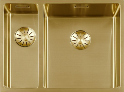 Luxe rvs 1,5 anderhalve spoelbak gootsteen PVD Goud Gold 1534cm 1208953421