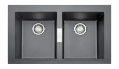 Franke Sirius 2 S2D 620 kunstof dubbele spoelbak zwart opbouw 1208953708