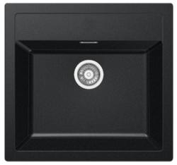 Franke Sirius 2 S2D 610.50 kunstof zwarte spoelbak 56x53cm opbouw met kraangat 1208953733