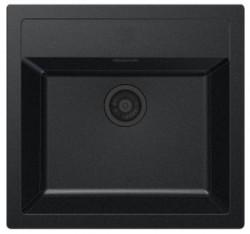 Ausmann Black kunstof zwarte spoelbak 56x53cm opbouw met kraangat 1208953774