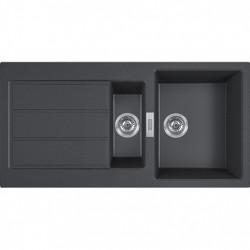 Franke Sirius 2 S2D 651 zwarte kunstof 1,5 anderhalve spoelbak met afdruip opbouw 100x50 1208953820