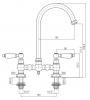 PB Nostalgische Brugkeukenkraan koper ronde uitloop met witte hendels copper PBN.KOP.R.WH