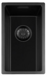 Lorreine zwarte Quartz kleine spoelbak 17x40cm onderbouw vlakbouw en opbouw zwart met zwarte korfplug 1208953998