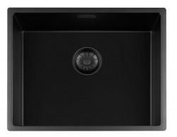 Lorreine zwarte Quartz spoelbak 50x40cm onderbouw vlakbouw en opbouw zwart met zwarte korfplug 1208954002
