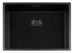 Lorreine zwarte Quartz spoelbak 55x40cm onderbouw vlakbouw en opbouw zwart met zwarte korfplug 1208954003