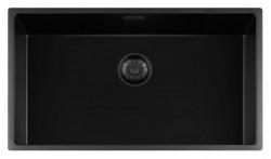 Lorreine zwarte Quartz grote spoelbak 74x40cm onderbouw vlakbouw en opbouw zwart met zwarte korfplug 1208954004