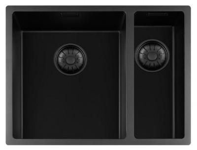Lorreine zwarte Quartz 1,5 anderhalve spoelbak 3415cm onderbouw vlakbouw en opbouw zwart met zwarte korfplug 1208954008