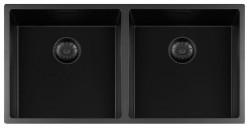 Lorreine zwarte Quartz dubbele spoelbak 4040cm onderbouw vlakbouw en opbouw zwart met zwarte korfplug 1208954010