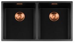 Lorreine zwarte Quartz dubbele spoelbak 3434cm onderbouw vlakbouw en opbouw zwart met koperen korfplug 1208954026