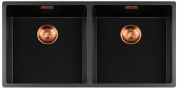 Lorreine zwarte Quartz dubbele spoelbak 4040cm onderbouw vlakbouw en opbouw zwart met koperen korfplug 1208954027