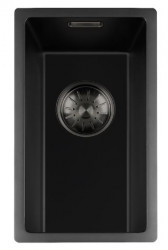 Lorreine zwarte Quartz kleine spoelbak 17x40cm onderbouw vlakbouw en opbouw zwart met gun metal korfplug 1208954029
