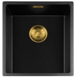 Lorreine zwarte Quartz spoelbak 34x40cm onderbouw vlakbouw en opbouw zwart met gouden korfplug 1208954031