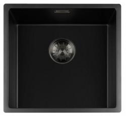 Lorreine zwarte Quartz spoelbak 40x40cm onderbouw vlakbouw en opbouw zwart met gun metal korfplug 1208954033