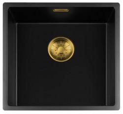 Lorreine zwarte Quartz spoelbak 40x40cm onderbouw vlakbouw en opbouw zwart met gouden korfplug 1208954034