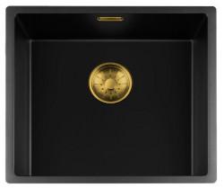 Lorreine zwarte Quartz spoelbak 45x40cm onderbouw vlakbouw en opbouw zwart met gouden korfplug 1208954036
