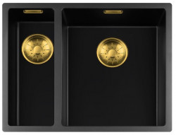 Lorreine zwarte Quartz 1,5 anderhalve spoelbak 1534cm onderbouw vlakbouw en opbouw zwart met gouden korfplug 1208954050